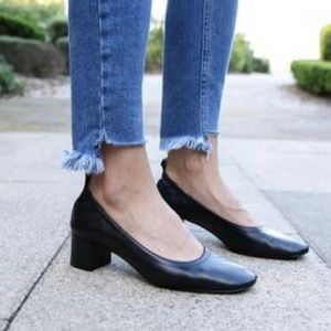 Everlane Leather Round Toe Ballet Heels Day Pump